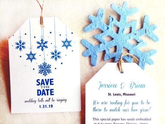 24 Saat Papier Save The Date Karten Pflanzbar Winter Etsy