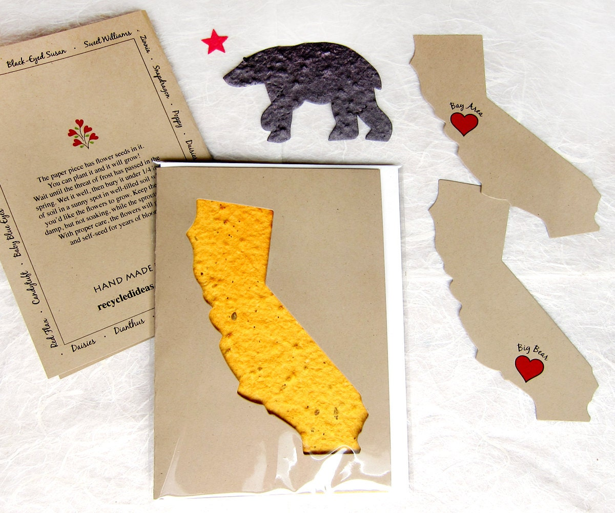 Plantable California Gift Card Set Flower Seed Paper Etsy