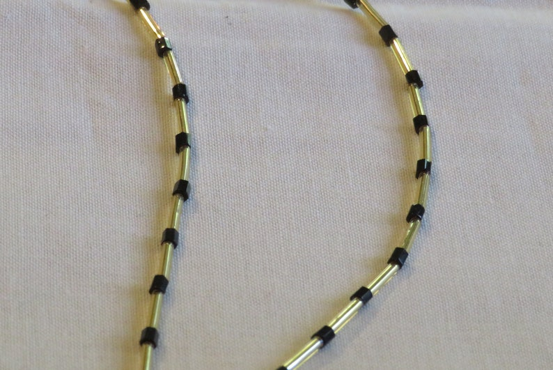 Beaded Lanyard-Gold and Black
