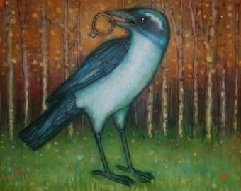 Scrub Jay with a Diamond Ring no.82 ORIGINAL mixed media bird art painting on cradled birch 10 x 10