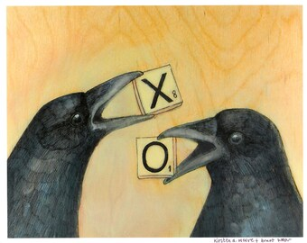 Two Crows Hold Scrabble Tiles in their Beaks X and O Bird Art PRINT no. 28 C-print 8 x 10
