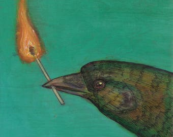 Crow is all fired-up no. 59 ORIGINAL mixed media bird art painting on cradled birch 6 x 6