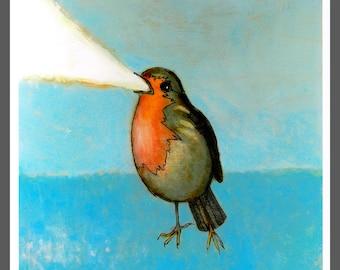 Flaming Robin #2 bird art PRINT no. 20 c-print 8 x 8