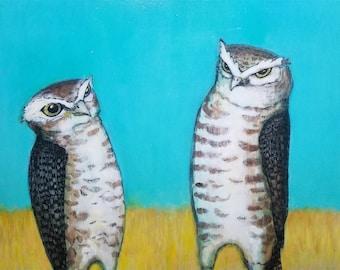 Two Vigilant Burrowing Owls ORIGINAL mixed media painting 9 x 12 collaboration no. 47