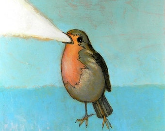 flaming robin no. 2 ORIGINAL mixed media painting ink and paint on wood 8 x 8