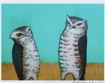 Two Vigilant Burrowing Owls Bird Art PRINT No. 47 c-print 8 x 10