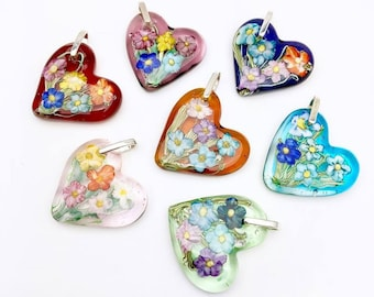 Gardeners Delight Flameworked Heart Flower Pendant
