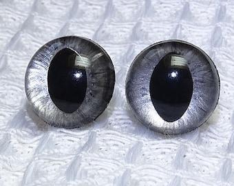 1 pair hand painted Brushed Silver Safety Cat Eyes, plastic eyes, amigurumi eyes, stuffed toy eyes