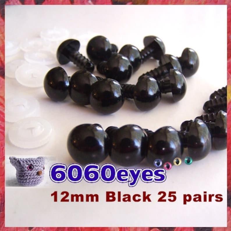 12 mm Safety Eyes Animal Eyes Plastic Eyes BLACK  25 pairs image 0
