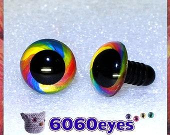 Hand Painted Rainbow Swirl Safety Eyes, Animal Eyes, Craft Eyes, Plastic Eyes, Toy Eyes