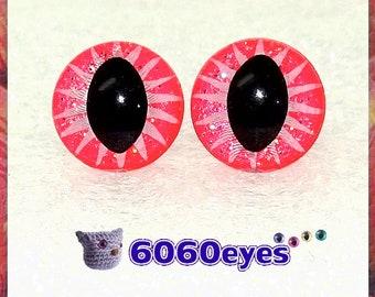 1 Pair Pink Sparkle hand painted safety eyes, cat eyes, plush eyes, animal eyes, craft eyes, amigurumi eyes, toy eyes, plastic eyes
