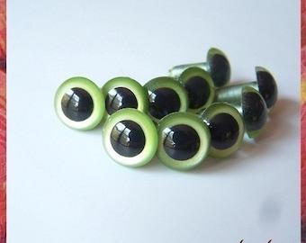 12 mm PEARL GREEN animal eyes plastic eyes safety eyes - 5 PAIRS