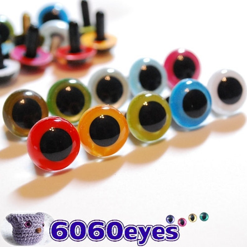15mm Plastic eyes Safety eyes 10 pairs Mixed Colors 15M10 image 0