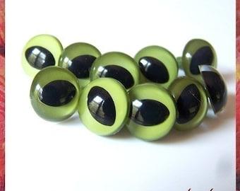 15 mm OLIVE CAT / FISH amiguumi animal plastic craft safety eyes - 5 pairs