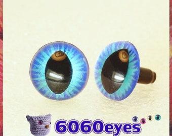 1 Pair Blue on Blue hand painted safety eyes, cat eyes, plush eyes, animal eyes, craft eyes, amigurumi eyes, toy eyes, plastic eyes