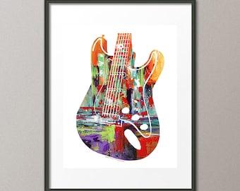 Abstract guitar art etsy