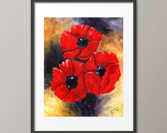 Fine Art Print Red Poppies Flowers Landscape Still Life Garden Botanical Giclee Elena