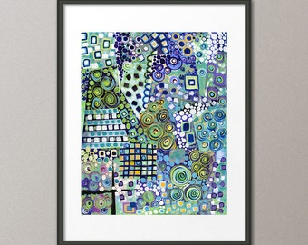 Blue Art Prints and Gallery Canvases Colorful Abstract Painting Contemporary Modern Acrylic Painting Elena