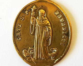 Large Antique Bronze St Benedict Medal Protection from Evil 1800s