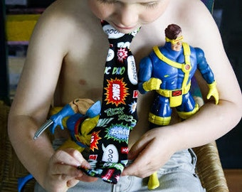 Superhero Slogan Necktie Black, Red, Green  Baby Toddler Boys