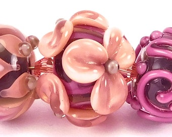 SRA Lampwork Bead Set of 3 Small Glass Beads in peach, magenta and charcoal grey by artist Kandice Seeber, trio, bracelet