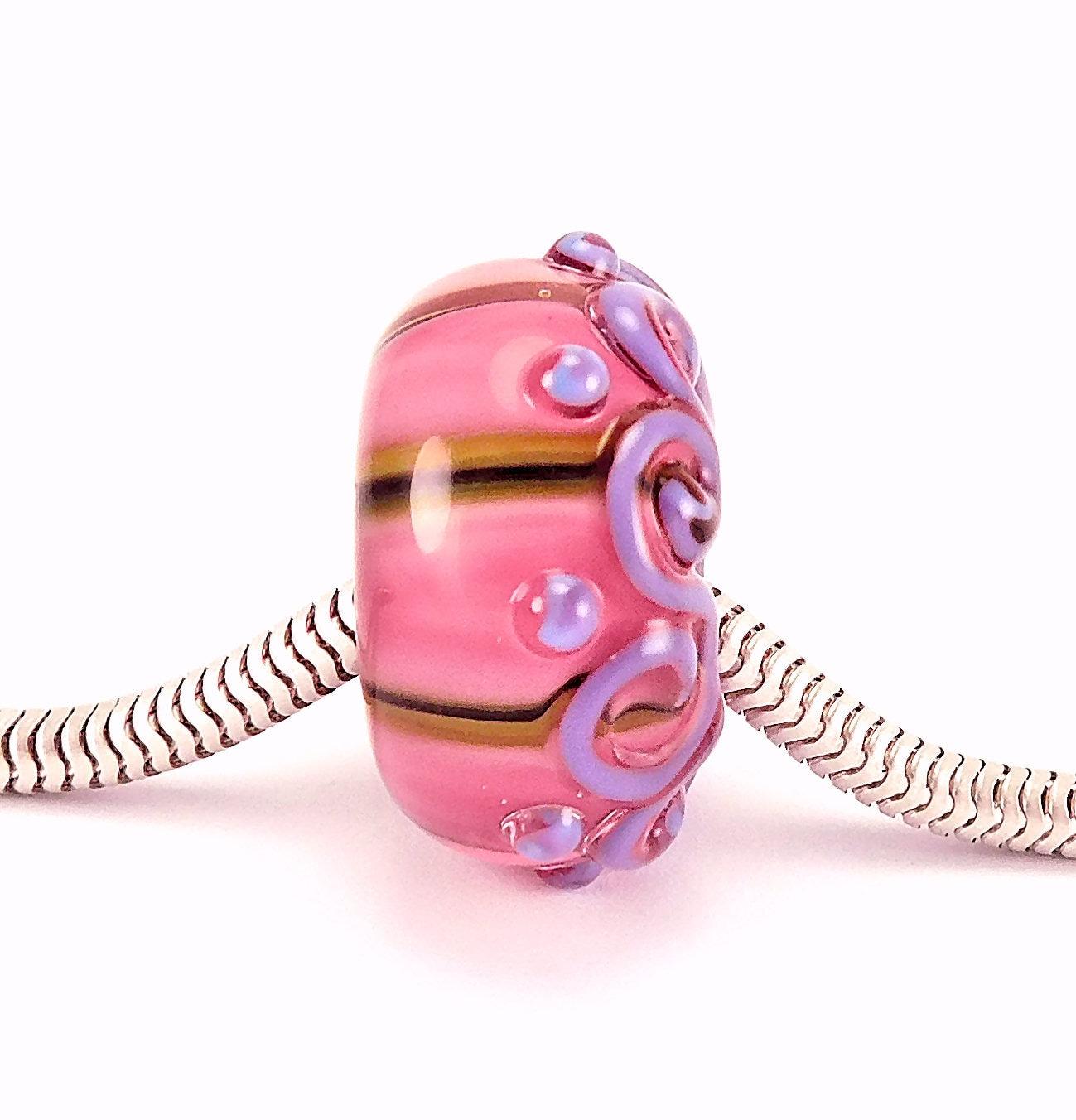 Handmade Lampwork European Charm Bracelet Barrel Shaped Bead with Sterling Silver Rivets large hole bead BD305 big hole bead OOAK