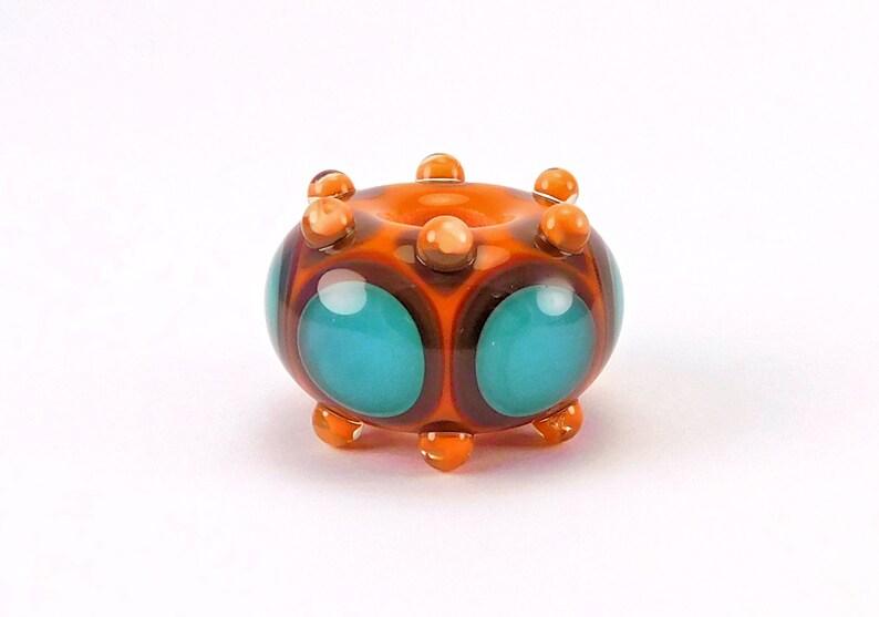 Burnt Orange Lampwork Bead 4mm big hole Large Hole Teal and Grey European Charm Bead by Kandice Seeber SRA