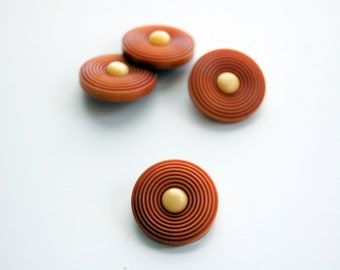 Vintage 1950s rust brown round buttons, vintage buttons, set 4 vintage 1950s buttons, 1950s rust brown buttons, collectible vintage buttons