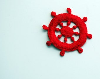 Ahoy Captains Wheel Nautical Vintage Sew-On Applique, vintage sewing trim notions, 1980s vintage patch, sailing boating nautical red themed