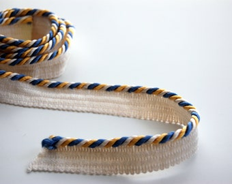 Blue Yellow White twisted corded piping trim, blue yellow costume dressmaker piping trim, decorative blue yellow white sewing piping edge