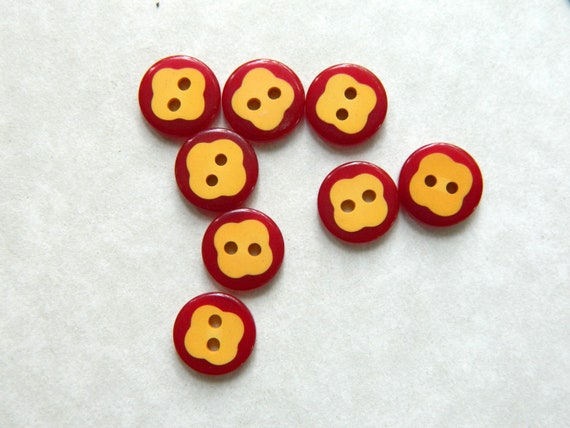 "Vintage Bakelite Buttons-Cookie Buttons-Cream and Red Bakelite Buttons-Small Buttons -1/2"" **PRICE is PER BUTTON"