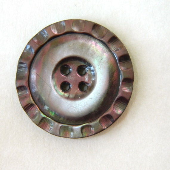 """Vintage Smoky Pearl Carved Oyster Shell Button - 1 3/16"""""""