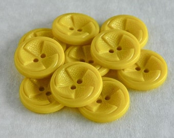 "Vintage Buttons-Set of Twelve 1930's to 40's Yellow Plastic Pinwheel Buttons-7/8""-VYP29 A"