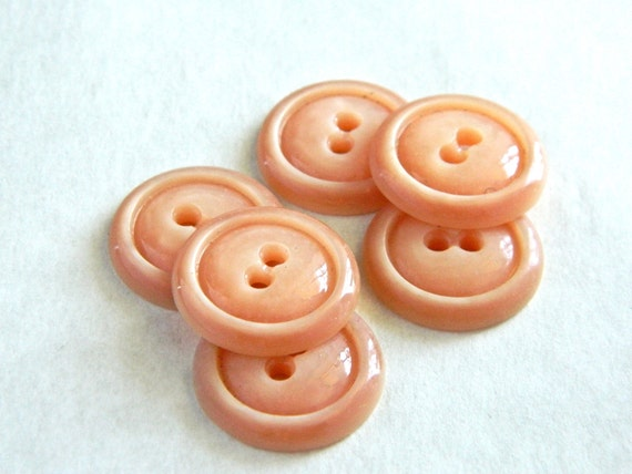"""CLEARANCE!! Set of Six Vintage 1930's Orange Pearlescent Buttons- 7/8"""""""