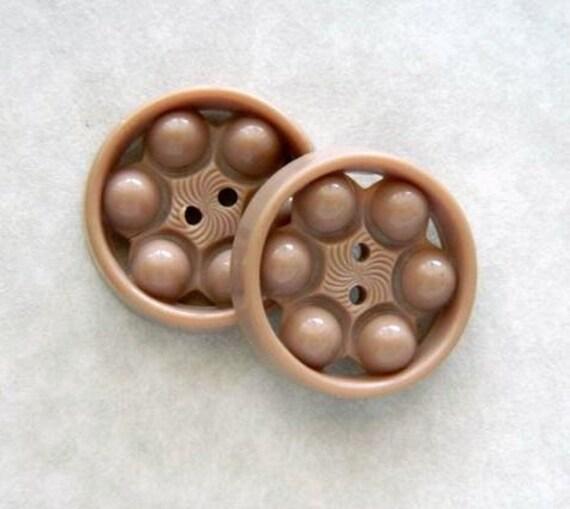 """Vintage Buttons -Vintage 1930's Beige Pierced Plastic Button -1 & 1/16"""""""