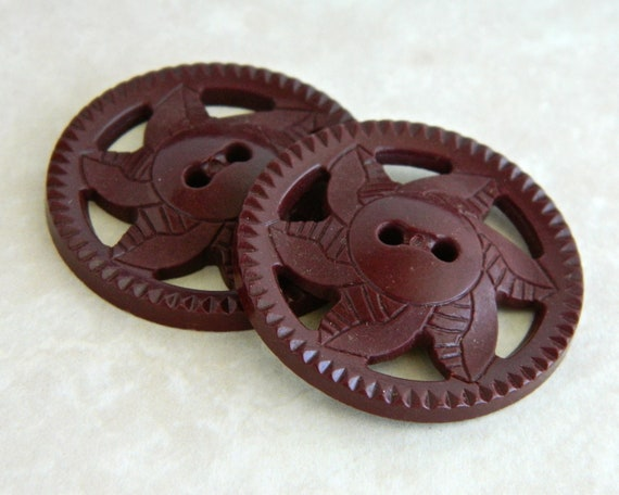 """Vintage Buttons - 1930's Pierced Brown Plastic Pinwheel Buttons! - Set of Two - 1 & 3/8"""""""