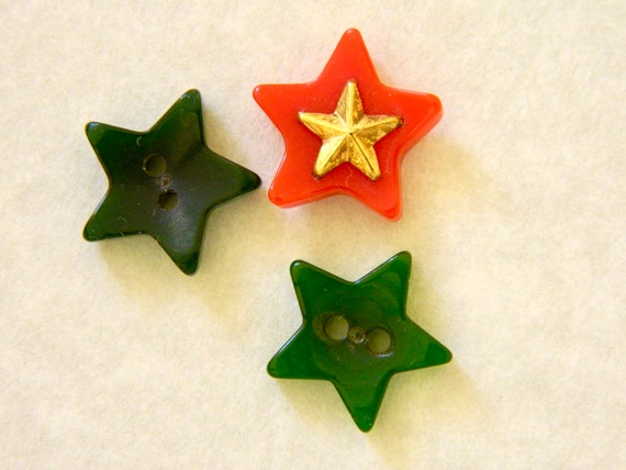 """Vintage Buttons - Set of three star shaped buttons - 5/8"""""""