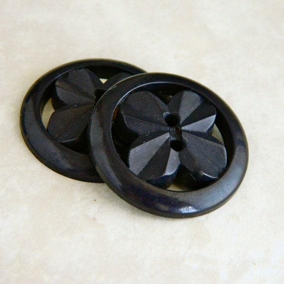 """Vintage Buttons  - Two Vintage 1930's Black Pierced Plastic Button - 1-3/8"""""""