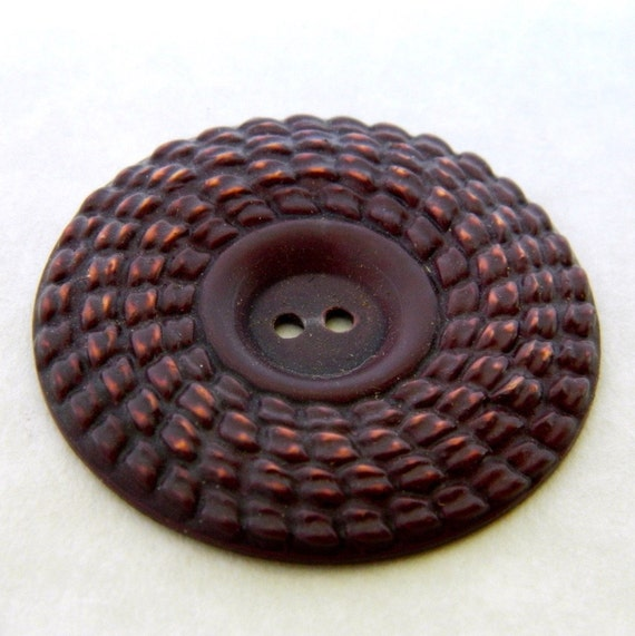 """Vintage Buttons - Very Large 1930's Brown Buffed Celluloid Button- 1 & 11/16"""""""