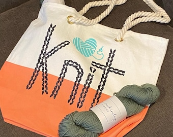 RESERVED FOR LC - Knit  canvas tote bag