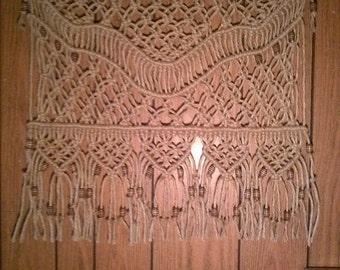 Beaded Curtain Treatment Macrame Tapestry Fiber Art Home Decor Hanging