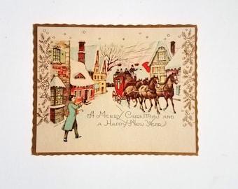 Vintage Christmas Card no fold Winter Scene Village Stage Coach horses Gold Trim