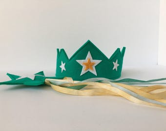 Wool Felt Crown and Wand-- silk and wool Star Child play set-- teal with hand dyed silk streamers