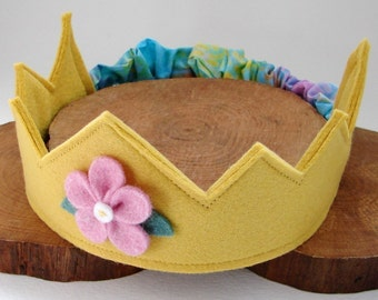 Wool Felt Crown -- Fairy Child crown in 100% merino wool with hand dyed flowe