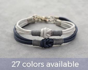 Couples Bracelet, 2 Long Distance Matching Couple Bracelets Set, Love Knot  Cotton Anniversary Couples Gift, Personalized, His Her, Boyfriend