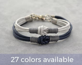 Couples Bracelet, Love Knot Long distance Bracelet Set, Simple Everyday Bracelet, Her His Bracelet, Matching bracelets, Couples gift, Cotton