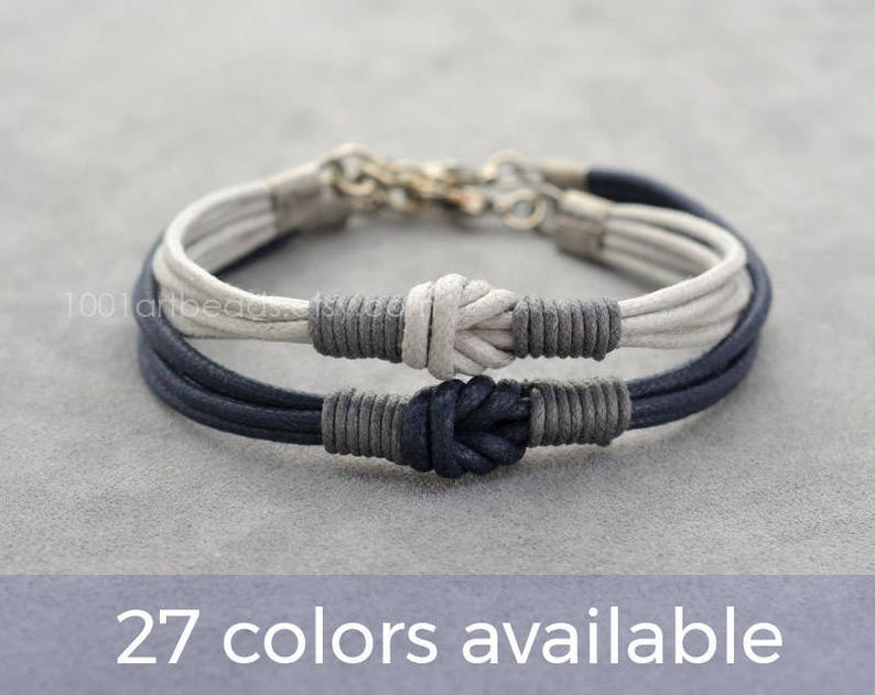 75fca2dd15f64 Couples Bracelet, 2 Long Distance Matching Couple Bracelets Set, Love Knot  Cotton Anniversary Couples Gift, Personalized, His Her, Boyfriend