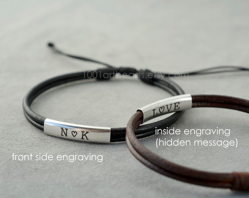 1d0ff4eacccaf Personalized Couple Bracelet set, Custom Engraving Hidden Message Leather  bracelets, 3rd anniversary Gift for him and her, matching bracelet