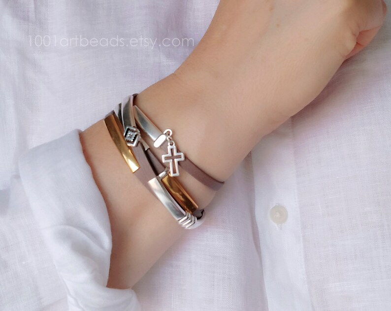 Silver and Gold Wrap Boho Bracelet for Women Gray-Rose Leather Layered Multistrand Bracelet with cross charm