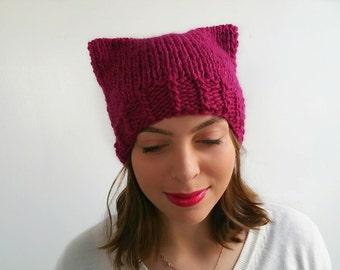 d71fd3425b7 Raspberry Pink Pussy Hat Handknit in Alpaca.